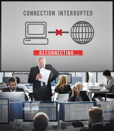 hectic: Interrupted Inaccessible Unavailable Disconnected Error Concept Stock Photo
