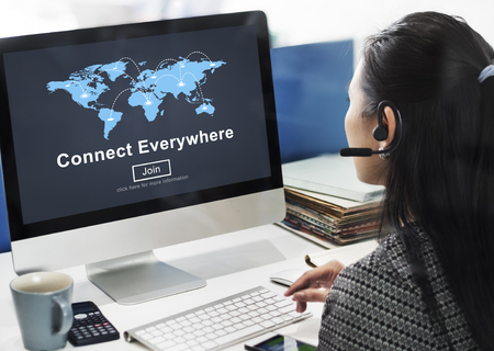 everywhere: Connect Everywhere Globalization Interconnection Communication Concept