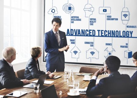 drones: Advanced Technology Connected Drones Technology Concept Stock Photo