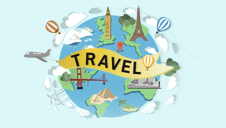 Travel concept with famous landmarks 写真素材 - 111773306