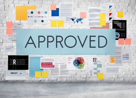 endorsing: Approved Approval Guaranteed Certified Authorized Concept