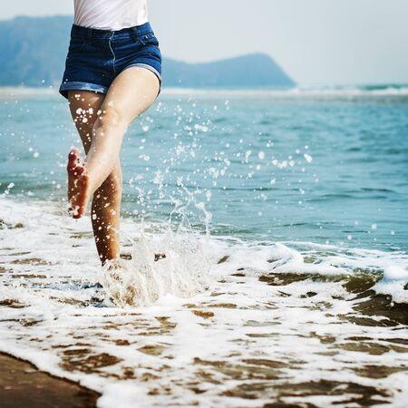 Sea Ocean Sand Beach Vacation Coast Chill Bare Concept Stock Photo