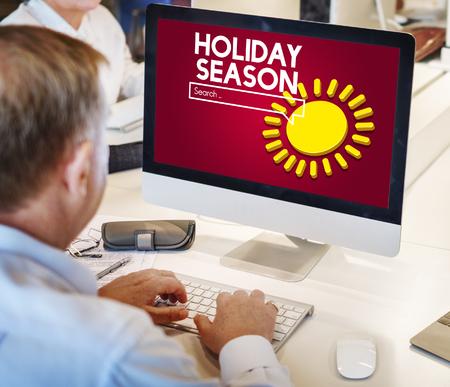 Holiday season concept on computer screen Stock Photo