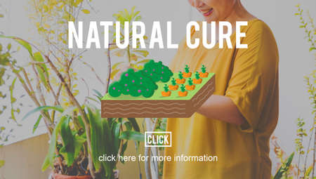 mature adult: Natural Cure Organic Farming Planting Concept Stock Photo