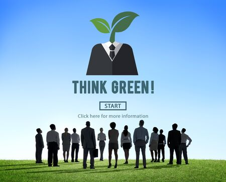 people looking up: Think Green Ecology Environmental Conservation Concept Stock Photo