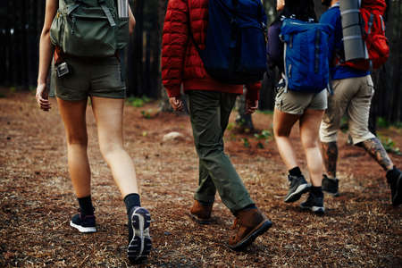 Camping Backpacker Walking Friendship Togetherness Concept Stock Photo