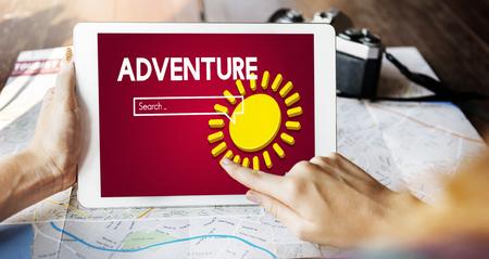 Adventure concept on digital tablet