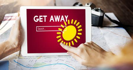 Getaway concept on digital tablet