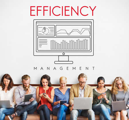 business efficiency: Business Efficiency Evaluate Strategy Management Concept Stock Photo
