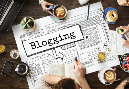 Blogging concept while brainstorming