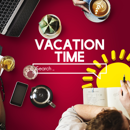 Online search with vacation time concept Stock Photo