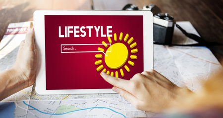 Online search with lifestyle concept on digital tablet Stock Photo