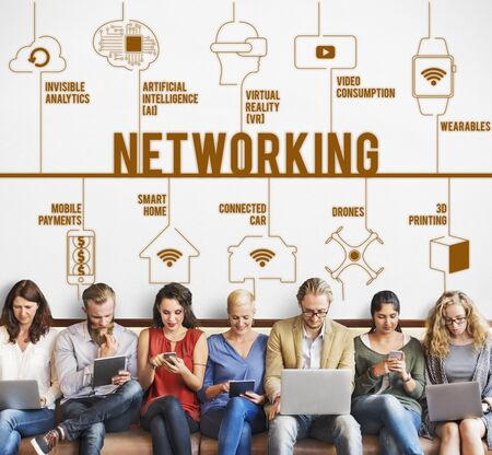 drones: Networking Connected Drones Technology Concept Stock Photo