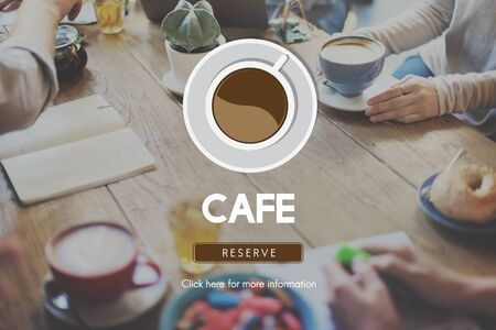 cheerfulness: Cafe Coffee Coffee Shop Drink Concept Stock Photo