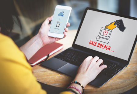 phishing: Cyber Attack Crime Fraud Phishing Hacker Security System Concept Stock Photo