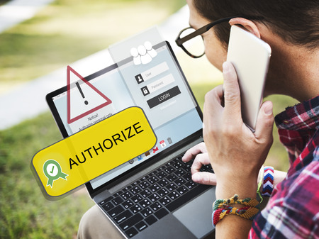 Authorize concept on laptop screen