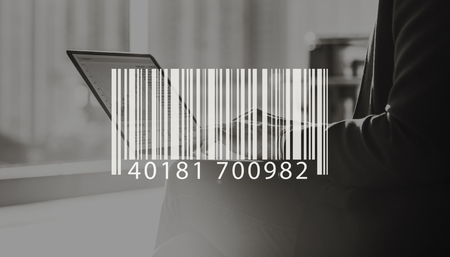 small business office: Barcode Mark Sign Market Item Concept Stock Photo