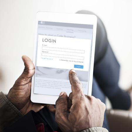 Login on digital tablet concept