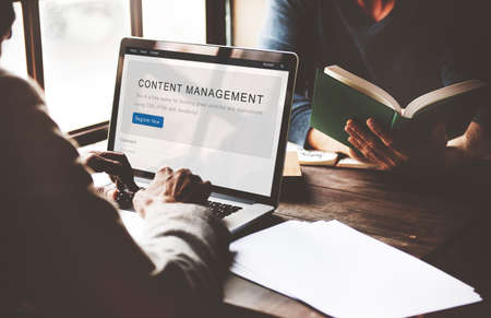 website window: Content Management System Strategy Web Concept Stock Photo