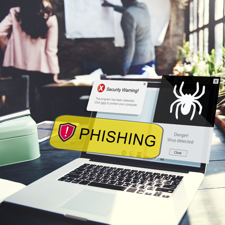 Phishing concept on laptop screen Imagens