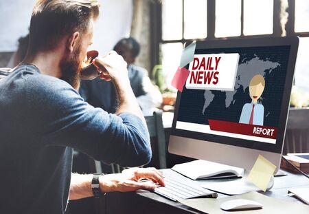annoucement: Daily News Annoucement Communication Media Concept Stock Photo