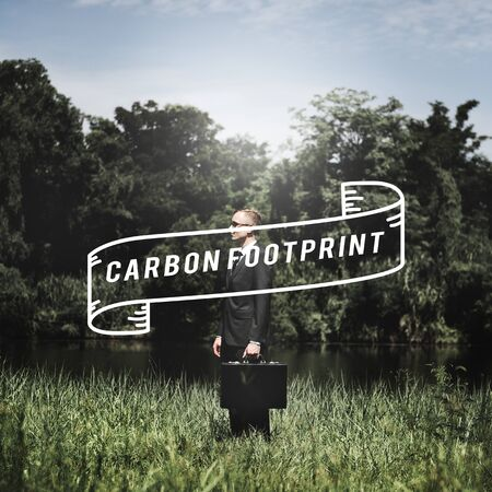 green footprint: Carbon Footprint Business Go Green Concept