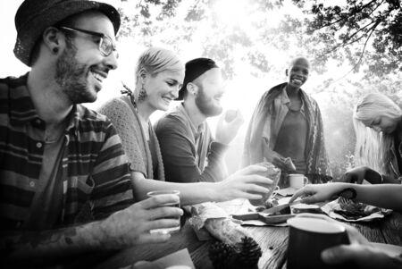 enjoyment: Celebrate Enjoyment Friends Together Unity Social Concept