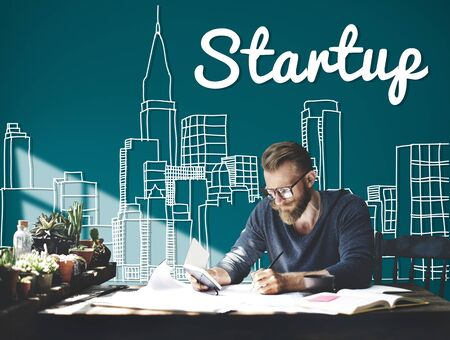 busy city: Startup New Business Vision Strategy Launch Concept