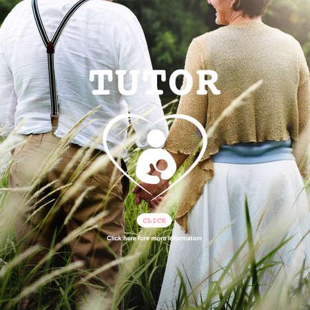 the elderly tutor: Tutor Educator Teacher Care School Concept