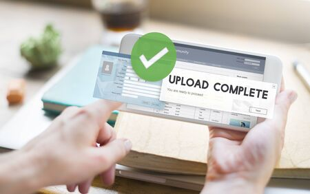 uploading: Upload Complete Data Uploading Submit Technology Concept