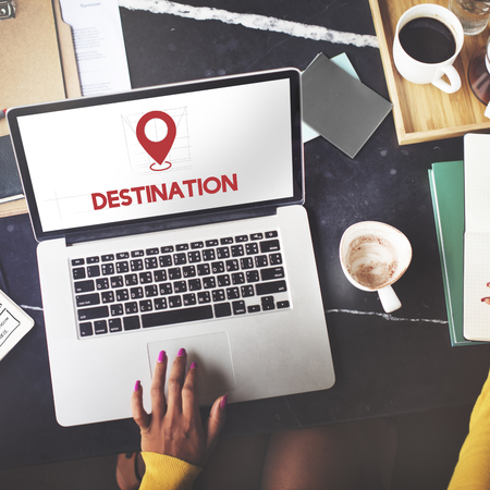 Destination concept on laptop screen