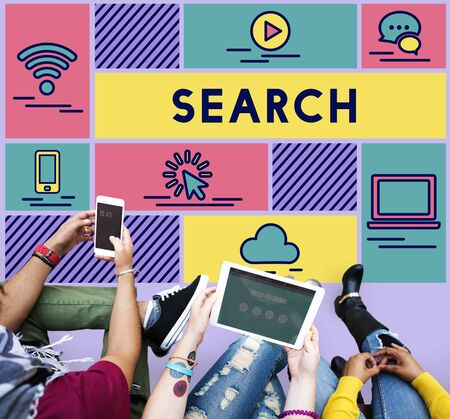 exploration: Search Find Data Exploration Browsing Concept Stock Photo