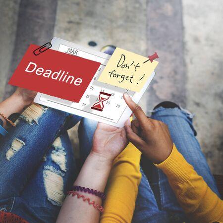 schedule system: Deadline Note Calendar Planner Concept