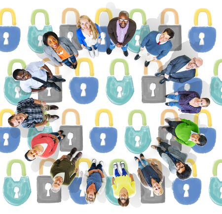 looking at view: Security Locked Safety Protection Concept Stock Photo