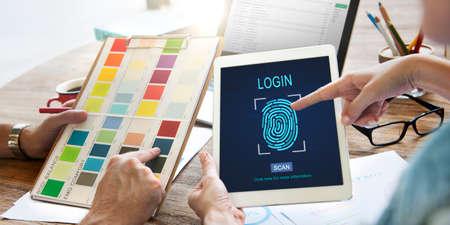 contraseña: Technology Security Fingerprint Password Concept Foto de archivo