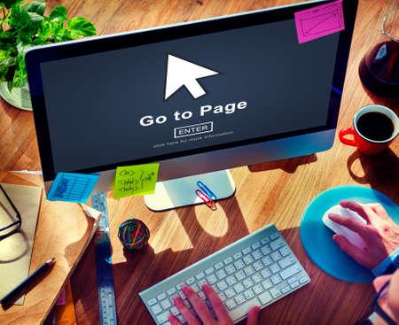 enter button: Go To Page Enter Button Interface Concept