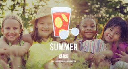 Summer Glass Lemonade Drink Graphic Concept Foto de archivo