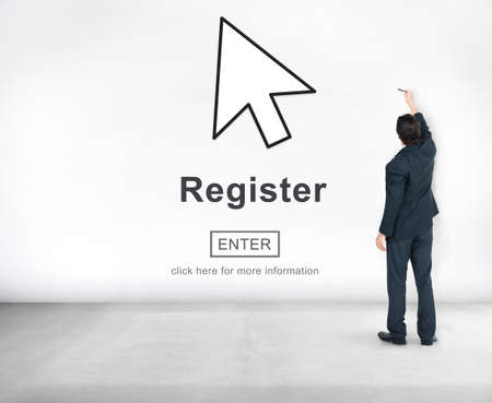 homepage: Register Member Homepage Browsing Digital Concept Stock Photo