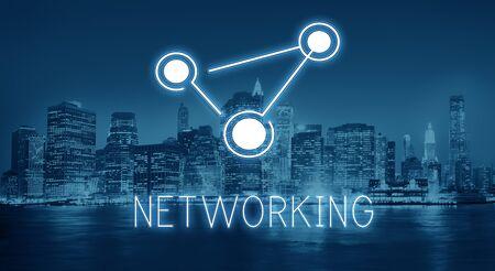 通信: 世界規模の通信接続グローバル化技術コンセプト 写真素材