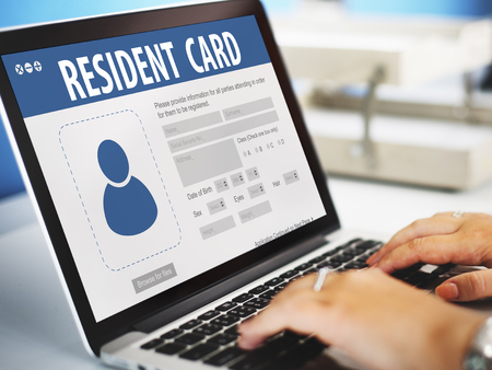 resident: Resident Card Identification Data Information Immigration Concept Stock Photo