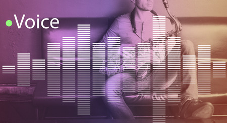instrumentalist: Music Audio Melody Wave Graphic Concept Stock Photo