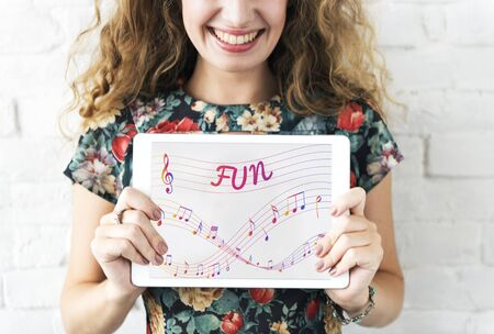 beat women: Music Notes Entertainment Melody Listening Concept