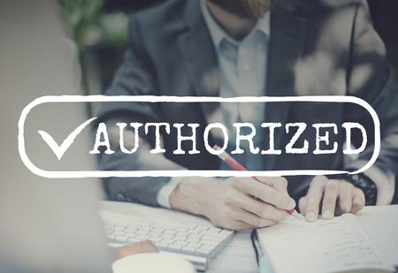 signing authority: Approved Checked Accessible Authorized Security Concept Stock Photo