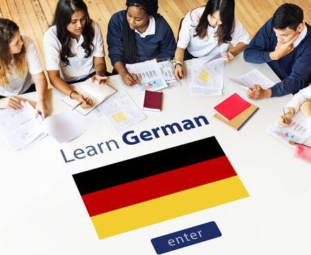 german ethnicity: Learn German Language Online Education Concept