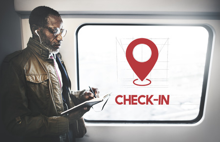 Businessman with location check in concept