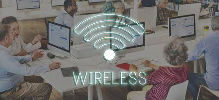 mature adult: Wireless Internet Wifi Icon Concept