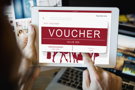 Gift voucher in a tablet