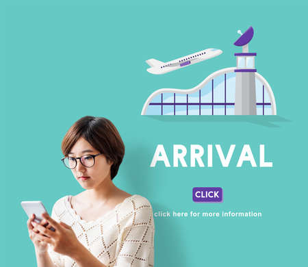aircraft take off: Arrival Business Trip Flights Travel Information Concept