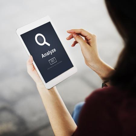 strategize: Analyze Data Strategize Website Concept Stock Photo