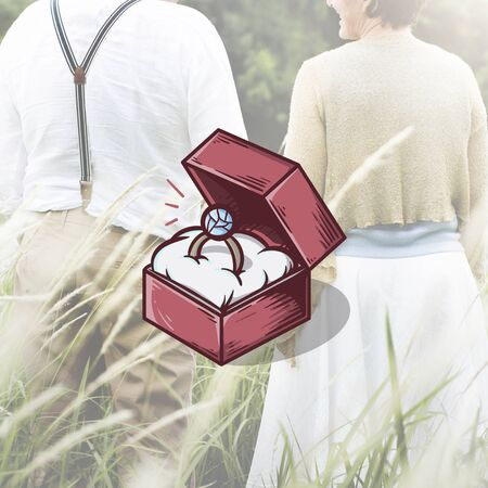 mature adult: Engagment Ring Box Illustration Concept Stock Photo